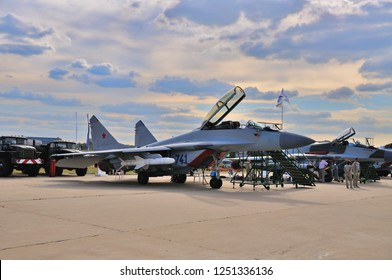 MOSCOW, RUSSIA - AUG 2015: fighter aircraft MiG-29 Fulcrum presented at the 12th MAKS-2015 International Aviation and Space Show on August 28, 2015 in Moscow, Russia