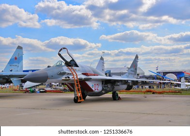 MOSCOW, RUSSIA - AUG 2015: fighter aircraft MiG-29 Fulcrum presented at the 12th MAKS-2015 (International Aviation and Space Show) on August 28, 2015 in Moscow, Russia