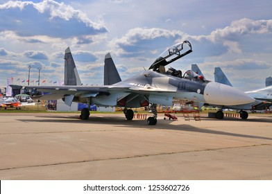 MOSCOW, RUSSIA - AUG 2015: fighter aircraft Su-30 Flanker-C presented at the 12th MAKS-2015 International Aviation and Space Show on August 28, 2015 in Moscow, Russia