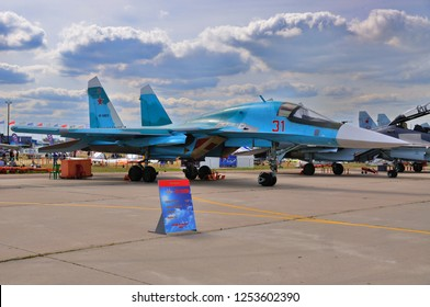 MOSCOW, RUSSIA - AUG 2015: strike fighter Su-34 Fullback presented at the 12th MAKS-2015 International Aviation and Space Show on August 28, 2015 in Moscow, Russia