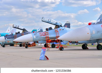 MOSCOW, RUSSIA - AUG 2015: Sukhoi fighter aircrafts presented at the 12th MAKS-2015 International Aviation and Space Show on August 28, 2015 in Moscow, Russia