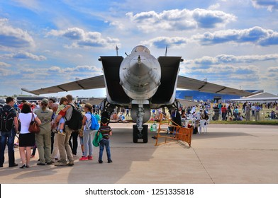 MOSCOW, RUSSIA - AUG 2015: supersonic interceptor MiG-25 Foxbat presented at the 12th MAKS-2015 International Aviation and Space Show on August 28, 2015 in Moscow, Russia