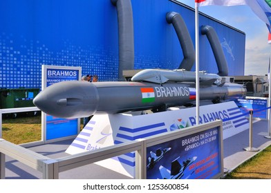 MOSCOW, RUSSIA - AUG 2015: supersonic cruise missile BrahMos presented at the 12th MAKS-2015 International Aviation and Space Show on August 28, 2015 in Moscow, Russia
