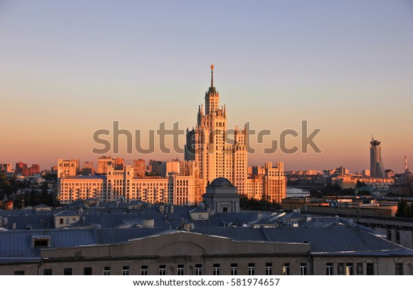 MOSCOW, RUSSIA -AUG 27,2016:  Kotelnicheskaya Emb. Skyscraper in Moscow designed in the Stalinist style on sunset