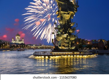 MOSCOW, RUSSIA – AUGUST 01, 2018: Fireworks over the Piter the Thirst Monument, Moskow, Russia (at night)