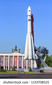 Moscow, Russia - August 01, 2018: Vostok booster rocket on a background of pavilion Transport on Exhibition of Achievements of National Economy (VDNH) in Moscow