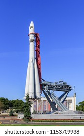 Moscow, Russia - August 01, 2018: Vostok booster rocket on Exhibition of Achievements of National Economy (VDNH) in Moscow on a sunny summer morning