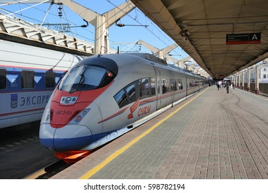 MOSCOW, RUSSIA - August 02, 2013 High speed Sapsan train on a platform at Lenigradsky railway station ready to depart from Moscow to St. Petersburg. The modern trains made by Siemens run since 2009.