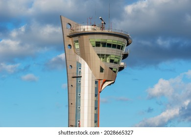 Moscow, Russia - August 02, 2015: Exterior of control tower in Sheremetyevo International Airport.