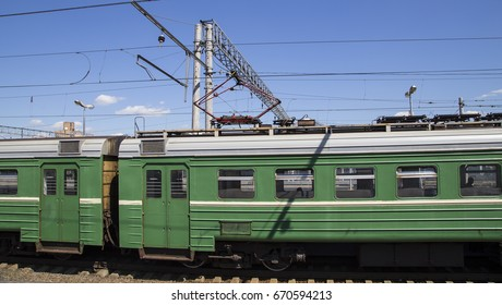 MOSCOW, RUSSIA - AUGUST, 04 2015: Train on Moscow passenger platform (Kursky railway terminal ) is one of the nine main railway stations in Moscow, Russia