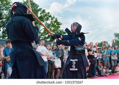 Moscow / Russia - August 04, 2018: J-Fest japanese festival. Kendo demonstration
