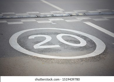 MOSCOW / RUSSIA - AUGUST 07, 2019: Road markings 20 kilometers speed