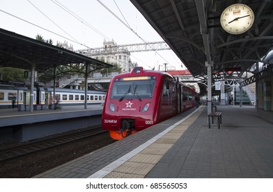 """MOSCOW, RUSSIA - AUGUST, 08 2015: Aeroexpress Train at the Belorussky railway station. Moscow, Russia -- high-speed train acquired OAO """"Russian Railways"""" for use on the Russian high-speed railways"""