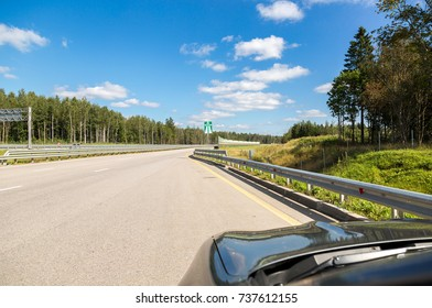 Moscow, Russia - August 08, 2017: Toll road. Russian highway number M11 in summer day