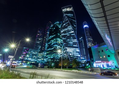 "Moscow, Russia - August 08, 2018: light traffic at night at the office center ""Moscow-City"""