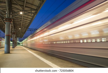 MOSCOW, RUSSIA - AUGUST, 09 2015: Train on Moscow passenger platform (Savelovsky railway station)-- is one of the nine main railway stations in Moscow, Russia (at night)