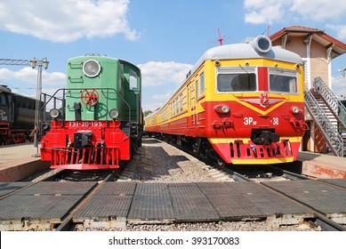 Moscow, Russia - August 1, 2012.  The TE1-20-195 locomotive and railcar section ER22-38  in the railway Museum at Riga station