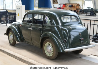 MOSCOW, RUSSIA - AUGUST 1, 2014: rare KIM-10-52 made in USSR 1940s compact car. Soviet Russian old cars exhibition on VDHKh.
