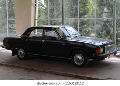 MOSCOW, RUSSIA - AUGUST 1, 2014: GAZ-3102 Volga made in USSR 1980s car.  Soviet Russian old cars exhibition on VDHKh.