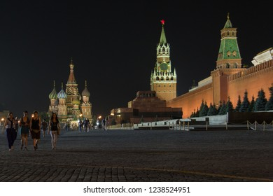MOSCOW, RUSSIA - AUGUST 1, 2014 - Red Square at night with people walking