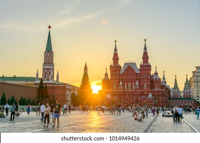 Moscow, Russia - August 1, 2017: The main sights of Moscow - Red Square, Historical Museum and the Moscow Kremlin