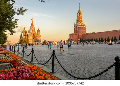 Moscow, Russia - August 1, 2017:  The Moscow Kremlin and Saint Basil's Cathedral (Cathedral of Vasily the Blessed - Pokrovsky Cathedral) on Red Square