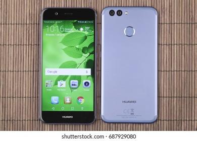 Moscow, Russia - August 1, 2017: Huawei Nova 2 Blue mobile phone.