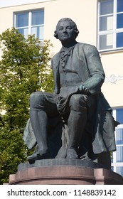 MOSCOW, RUSSIA - AUGUST 1, 2018: Monument to Lomonosov in Mokhovaya Street. Mikhail Lomonosov was great Russian scientist, he developed project of Moscow University.