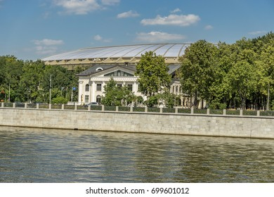 Moscow, Russia - August 10, 2017: View of riverside of Moscow river and  Luzhniki sport arena