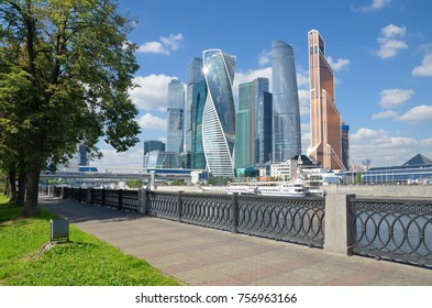 "Moscow, Russia - August 10, 2017: View of the towers of the Moscow international business center (MIBC) ""Moscow-city"" embankment of Taras Shevchenko"
