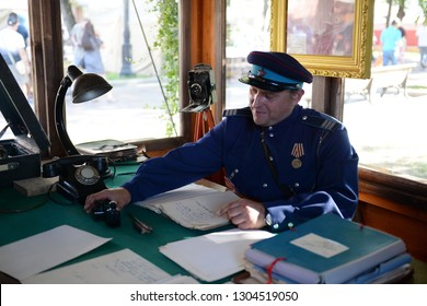 MOSCOW, RUSSIA - AUGUST 10, 2018: Reconstructor in the form of a police officer of the 50s of the 20th century on Strastnoy Boulevard in the center of Moscow