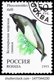 MOSCOW, RUSSIA - AUGUST 10, 2019: Postage stamp printed in Russia shows Dall's Porpoise (Phocoenoides dalli), World Fauna serie, circa 1993