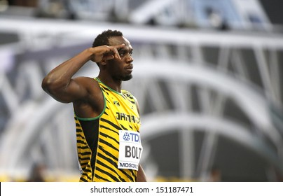 MOSCOW, RUSSIA - AUGUST 10: Usain Bolt prepares to stert at the World Athletics Championships on August 10, 2013 in Moscow