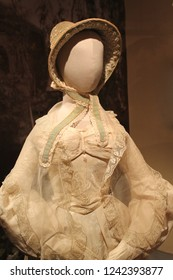 """MOSCOW, RUSSIA - AUGUST 11, 2013: Silk jacquard dress. Trimmed with embroidery, lace, silk gauze. Made in Europe 1900s.  The exhibition """"Fashion in the mirror of history. 19th - 20th century."""""""
