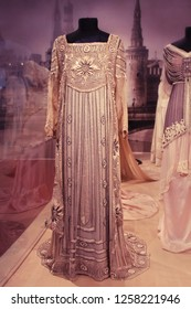 "MOSCOW, RUSSIA - AUGUST 11, 2013: Haute couture ball gown. Silk net hand embroidered with seed beads, sequins, perl. 1910s  The exhibition ""Fashion in the mirror of history. 19th - 20th century."""