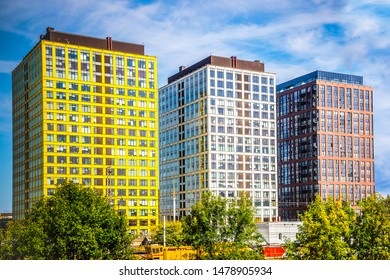 """MOSCOW, RUSSIA - august  11, 2019 Modern architecture of residential complex """"Savelovsky city» in Moskow. Modern residential and office buildings. Property for sale"""