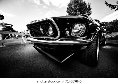 Moscow, Russia - August 12, 2017: Front view of muscle retro car 1969 Ford Mustang at the exhibition in Gorky Park black and white