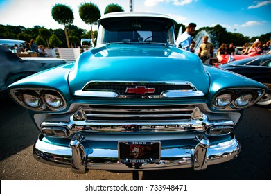 Moscow, Russia - August 12, 2017: Front view of muscle retro car 1958 Chevrolet Apache Pickup Truck at the exhibition in the Gorky Park