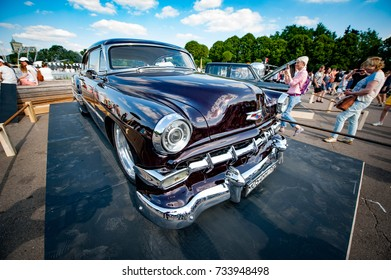 Moscow, Russia - August 12, 2017: Side view of muscle retro car 1954 Chevrolet Bel Air at the exhibition in the Gorky Park