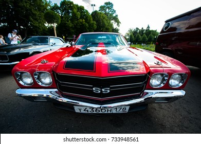Moscow, Russia - August 12, 2017: Front view of muscle retro car 1970 Chevrolet Chevelle SS 454 at the exhibition in the Gorky Park