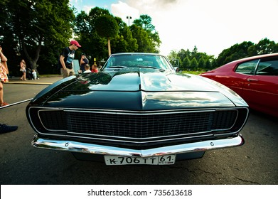 Moscow, Russia - August 12, 2017: Side back view of a muscle retro car 1968 Chevrolet Camaro SS at the exhibition in the Gorky Park