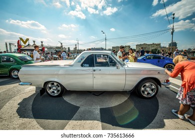 Moscow, Russia - August 12, 2017: Side view of a retro car 1972 GAZ Volga 24 Pickup Custom at the exhibition in the Gorky Park
