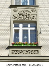 Moscow, Russia, August, 12, 2018. Moscow, apartment house 19/28 at the intersection of Podsosensky and Lalin lanes. 1910 year of construction. Decorative elements