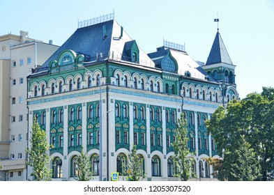 Moscow, Russia, August, 12, 2018. Profitable house M.N. Miansarova-Gutman, 1913 year of construction. Moscow, Pankratyevsky lane, 12/12, Bolshaya Sukharevskaya square, 12/12