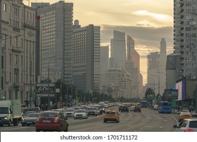 Moscow, Russia. August 12, 2019. Streets of the city at sunset.