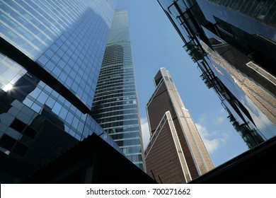 MOSCOW, RUSSIA - AUGUST 13, 2017: Low angle view of Moscow-City skyscrapers. Moscow-City (Moscow International Business Center) is a modern commercial buildings with a futuristic design in downtown.