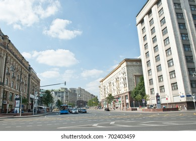 MOSCOW, RUSSIA - AUGUST 13, 2017: Tverskaya Street