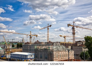 Moscow, Russia - August 13, 2018: construction cranes in the center of Moscow