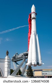 """MOSCOW, RUSSIA - AUGUST 14, 2011: Spacecraft """"Vostok"""", where Gagarin first flew into space.. VDNH"""