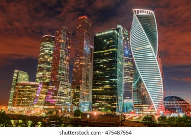 MOSCOW, RUSSIA - AUGUST 14, 2016 -  Moscow-city (Moscow International Business Center) at night, Russia